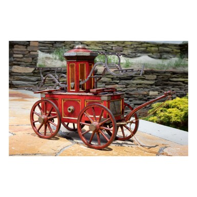 EXCEPTIONAL RED-PAINTED MODEL OF THE 'HOPE' HAND PUMPER FIRE ENGINE, ROBERT EICHHOLTZ (1833-1912) AND HENRY EICHHOLTZ (1830-1918), LANCASTER, PENNSYLVANIA, 1854