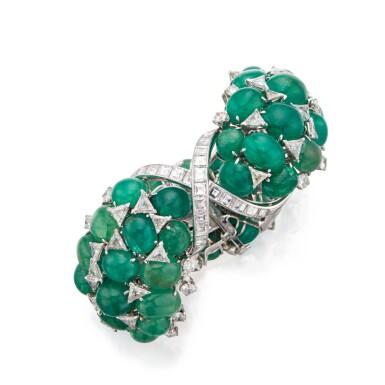 View 1. Thumbnail of Lot 60. David Webb | Emerald and Diamond Bracelet.