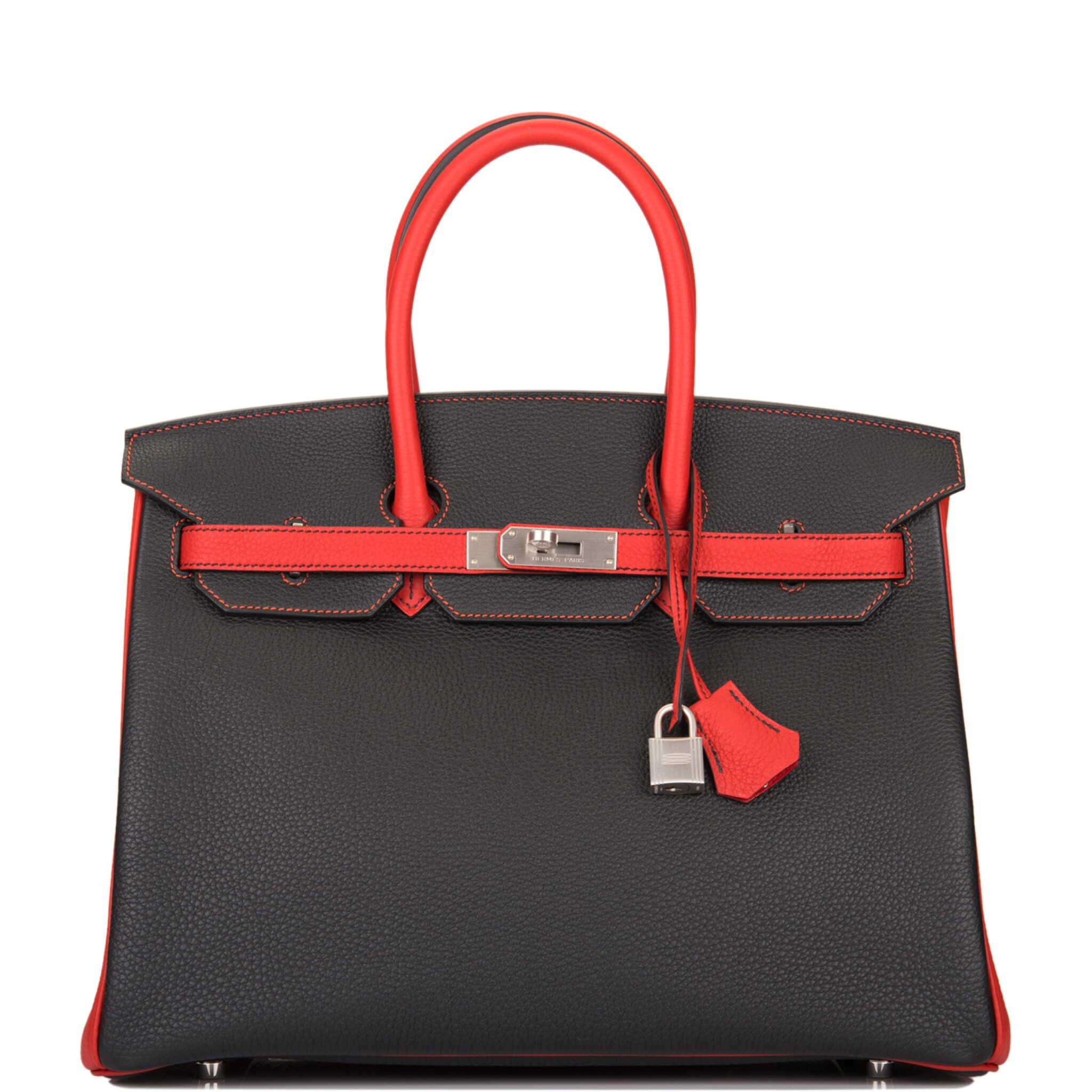 View full screen - View 1 of Lot 43. HERMÈS   HORSESHOE STAMPED (HSS) BICOLOR BLACK AND VERMILLION BIRKIN 35CM OF TOGO LEATHER WITH BRUSHED PALLADIUM HARDWARE.