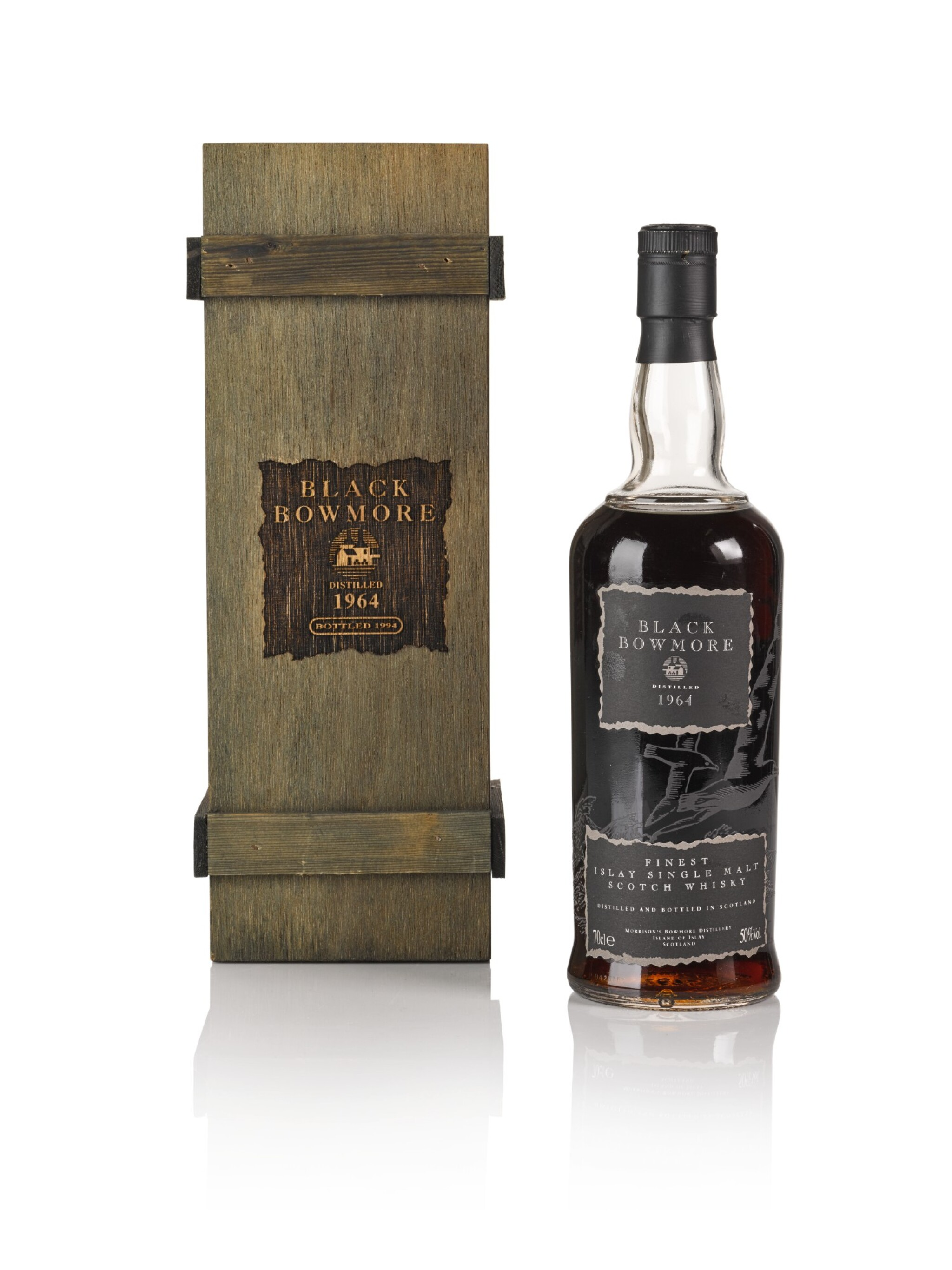 View full screen - View 1 of Lot 42. Bowmore Black Second Release 50.0 abv 1964 .