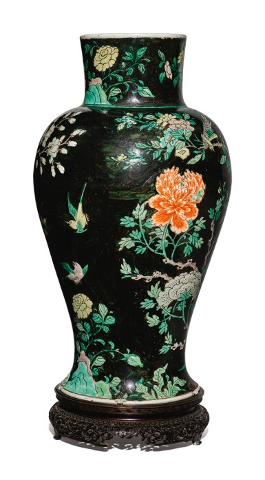 View 5. Thumbnail of Lot 1038. A FAMILLE-NOIRE 'BIRD AND FLOWER' BALUSTER JAR, QING DYNASTY, 19TH CENTURY.