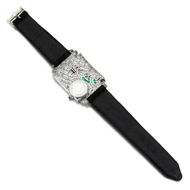 View 3. Thumbnail of Lot 7. Lady's gem set and diamond cocktail watch, 1920s.