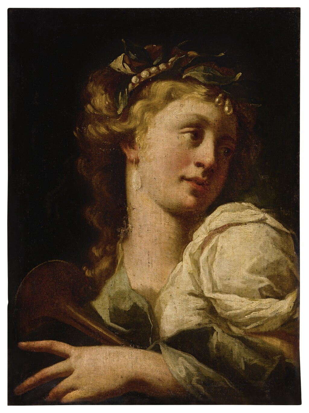 NORTH ITALIAN SCHOOL, 17TH CENTURY   PORTRAIT OF A LADY, BUST LENGTH, PLAYING A MUSICAL INSTRUMENT