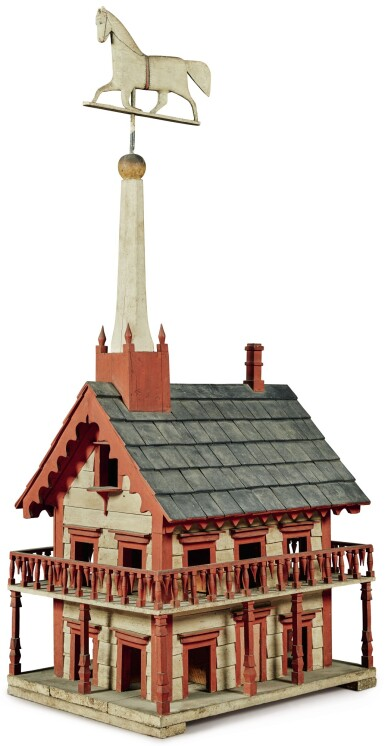 View 1. Thumbnail of Lot 1422. CARVED AND POLYCHROME PAINT-DECORATED PINE BIRDHOUSE WITH TROTTING HORSE WEATHERVANE, PROBABLY VERMONT, CIRCA 1880.