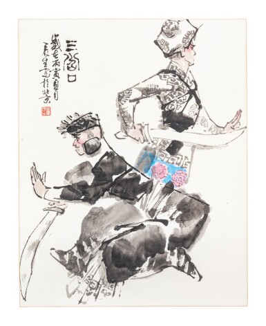View 2. Thumbnail of Lot 140. Artistes variés Ensemble de six peintures d'Opéra chinois   京劇人物 一組六幀   Various artists Set of Six Paintings of Chinese Opera.