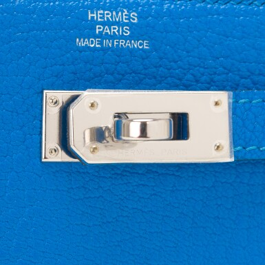 View 6. Thumbnail of Lot 13. Hermès Bleu Hydra Kelly Depliant Medium Wallet of Chevre Leather with Palladium Hardware.