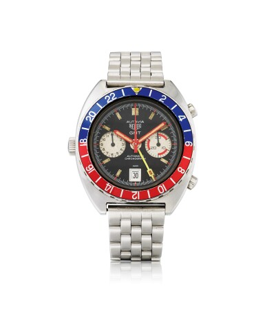 HEUER | AUTAVIA GMT, REF 11630 STAINLESS STEEL DUAL TIME CHRONOGRAPH WRISTWATCH WITH DATE AND BRACELET CIRCA 1978