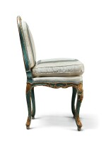 A GROUP OF FOUR LOUIS XV CARVED PARCEL-GILT AND BLUE PAINTED CHAIRS CIRCA 1750