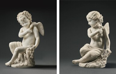 PIO FEDI   PAIR OF PUTTI AS ALLEGORIES OF PEACE AND INNOCENCE