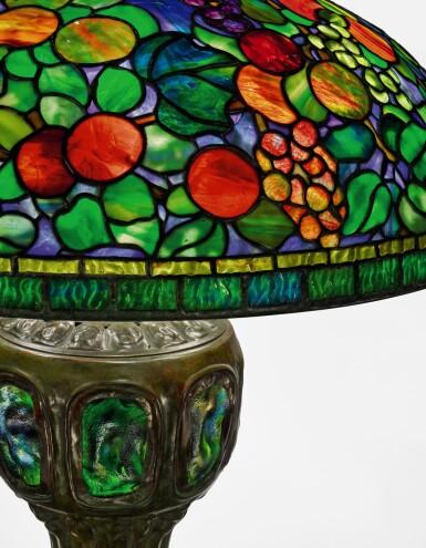 "View 3. Thumbnail of Lot 425. TIFFANY STUDIOS   A RARE ""FRUIT"" TABLE LAMP."