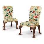 A PAIR OF GEORGE II CREWELWORK-UPHOLSTERED WALNUT SIDE CHAIRS, CIRCA 1740