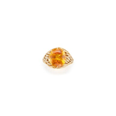 YELLOW-ORANGE SAPPHIRE AND DIAMOND RING, TIFFANY & CO.