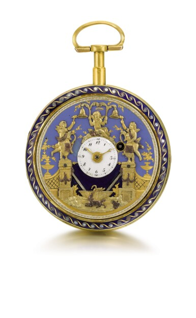 View 1. Thumbnail of Lot 26. SWISS | A GOLD AND ENAMEL QUARTER REPEATING WATCH WITH DOUBLE WATERFALL AUTOMATA AND JACQUEMARTS  CIRCA 1800.
