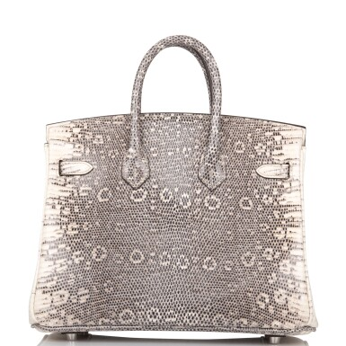 View 4. Thumbnail of Lot 2. Hermès Ombre Birkin 25cm of Varanus Salvator Lizard with Palladium Hardware.