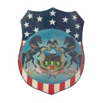VERY FINE AND RARE POLYCHROME PAINT-DECORATED PATRIOTIC TIN SHIELD, AMERICAN, CIRCA 1876
