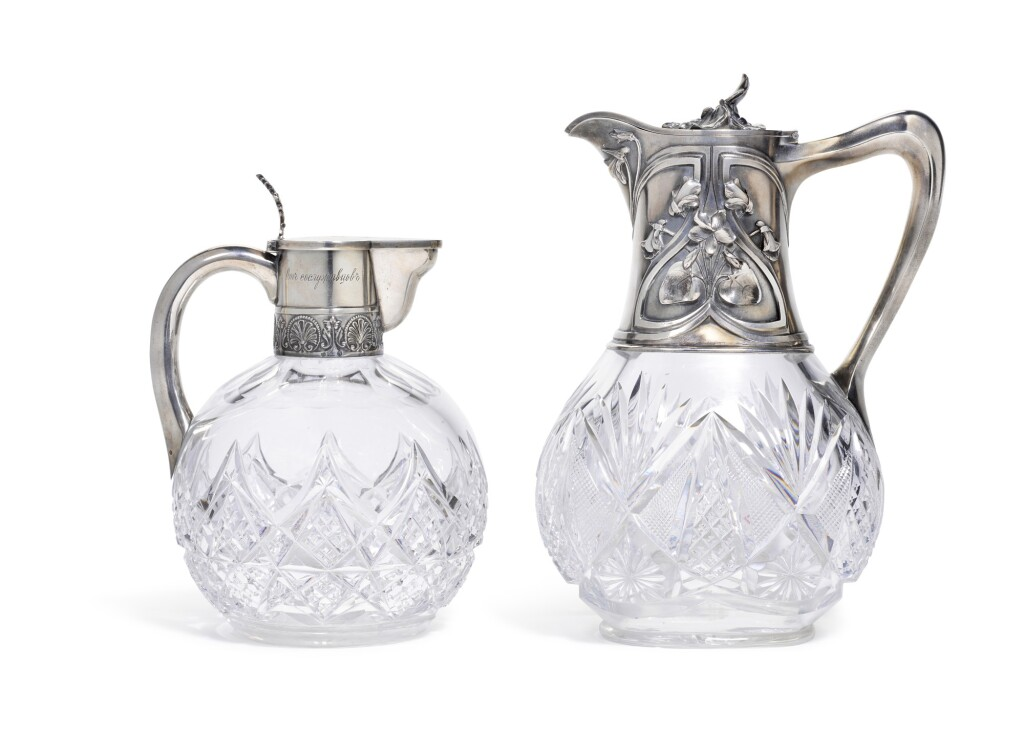 TWO SILVER-MOUNTED CUT-GLASS DECANTERS, MOSCOW AND ST PETERSBURG, 1899-1917