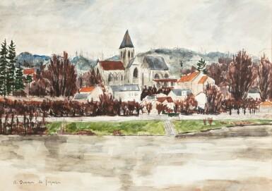 View 1. Thumbnail of Lot 30. ANDRÉ DUNOYER DE SEGONZAC   L'EGLISE DE TRIEL VUE DE LA RIVE GAUCHE DE LA SEINE     .