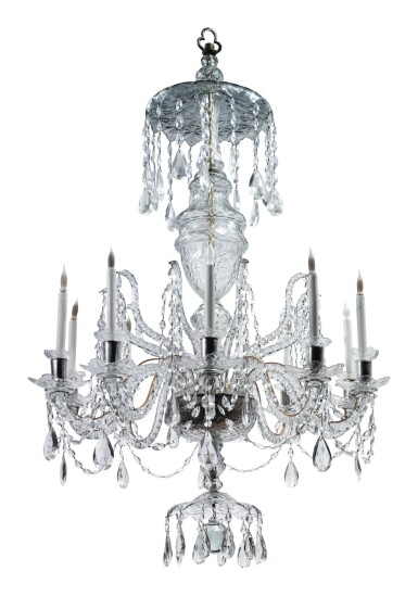 View 2. Thumbnail of Lot 281. A GEORGE III STYLE CUT GLASS TEN-LIGHT CHANDELIER.