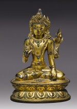A GILT COPPER ALLOY FIGURE OF MAITREYA,  TIBET 14TH/15TH CENTURY