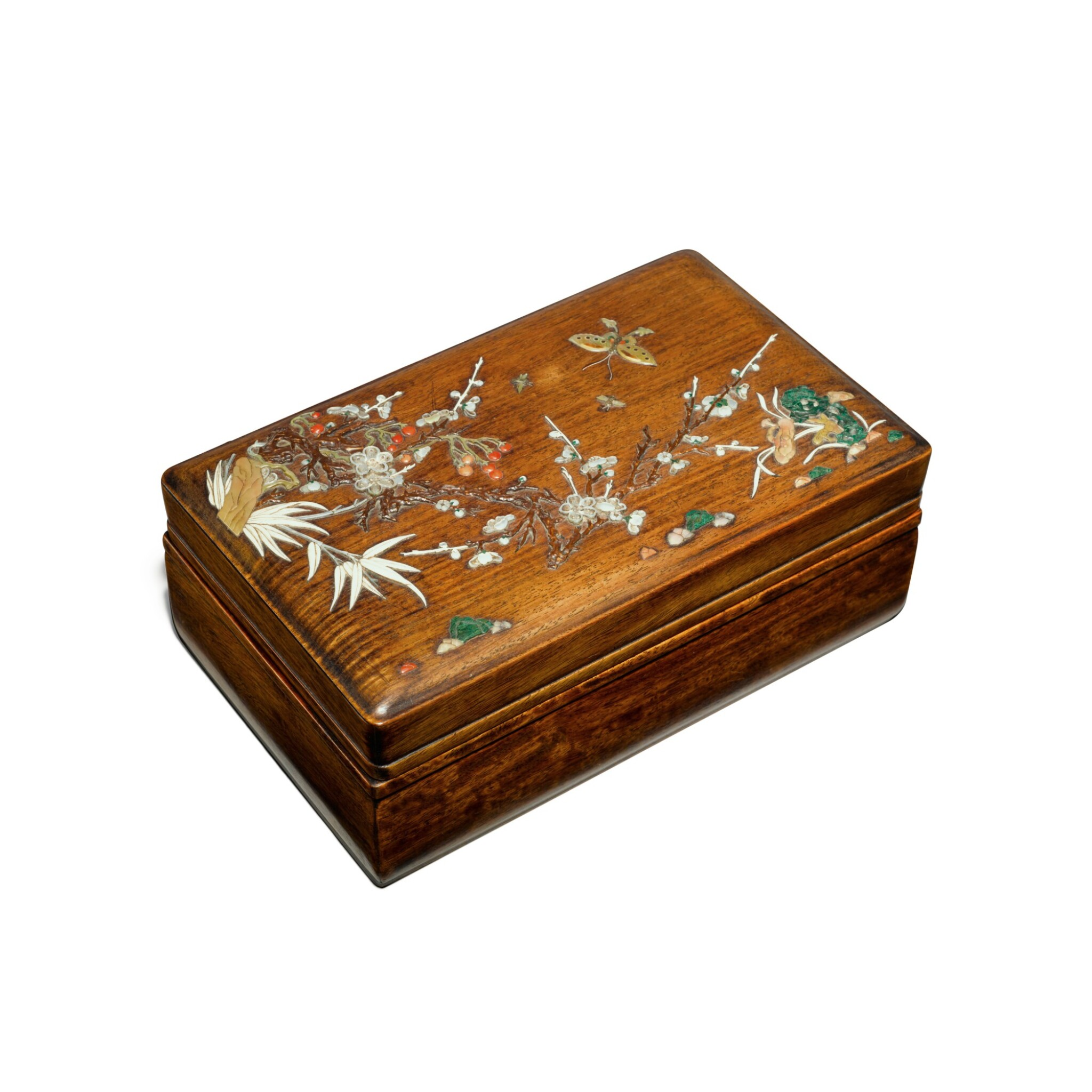 View full screen - View 1 of Lot 122. An embellished 'huanghuali' box and cover, Qing dynasty, 17th / 18th century   清十七 / 十八世紀 黃花梨嵌寶花蝶圖蓋盒.