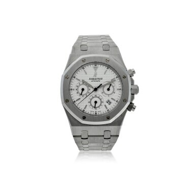 View 1. Thumbnail of Lot 12. REFERENCE 25860ST.OO.110ST.05 ROYAL OAK A STAINLESS STEEL AUTOMATIC CHRONOGRAPH BRACELET WRISTWATCH WITH DATE AND BRACELET, DONATED AND SIGNED BY GEORGE H.W. BUSH TO A SAVE THE CHILDREN CHARITY IN 2007.