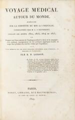 LESSON. Voyage médical autour du monde sur La Coquille. Roret, 1829. Demi-basane brune à coins de vélin.