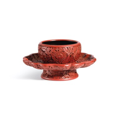 View 2. Thumbnail of Lot 3662. An exceptional and important carved cinnabar lacquer bowl stand, Ming dynasty, Hongwu period, Yongle and Xuande marks   明洪武 剔紅花卉紋盞托 《大明永樂年製》、《大明宣德年製》款.