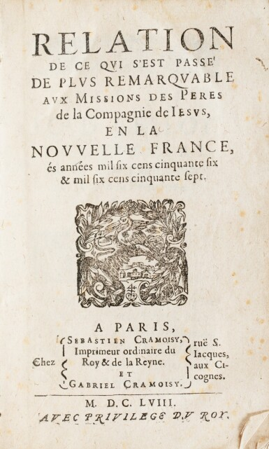 View 2. Thumbnail of Lot 111.  [LE JEUNE]. Relation de ce qui s'est passé.... Paris, 1658. In-8. Vélin souple de l'époque. EO.
