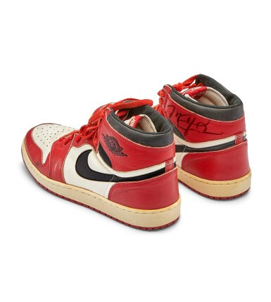 View 12. Thumbnail of Lot 1. Michael Jordan's Game Worn 1985 Player Sample Air Jordan 1s | Sizes 13, 13.5.