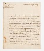 VOLTAIRE. Lettre autographe signée à M. Servan, avocat général. Ferney, 26 août 1769. 2 pages sur un feuillet in-8.