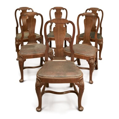A SET OF SIX GEORGE II WALNUT SIDE CHAIRS IN THE MANNER OF GILES GRENDEY, CIRCA 1735