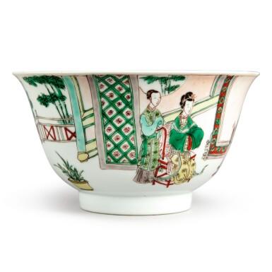 View 1. Thumbnail of Lot 144. A famille-verte 'figural' bowl, Qing dynasty, Kangxi period   清康熙 五彩人物故事圖盌  《大明成化年製》仿款.