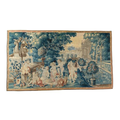 AN ENGLISH BACCHANALIAN TAPESTRY FROM THE 'NAKED BOYS' SERIES, PROBABLY SOHO, ATTRIBUTED TO JOHN VANDERBANK, IN THE MANNER OF FRANCIS CLEYN LATE 17TH/EARLY 18TH CENTURY