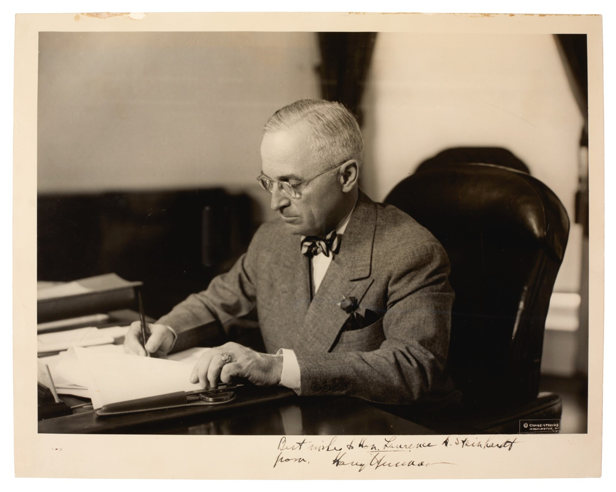 View full screen - View 1 of Lot 120. TRUMAN   photographic portrait, signed and inscribed, c. late 1940s.