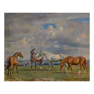 SIR ALFRED JAMES MUNNINGS, P.R.A., R.W.S. | HORSES AT GRASS