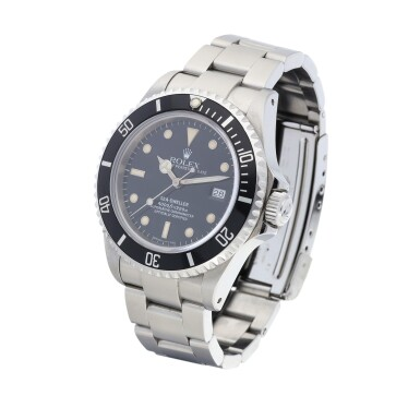 View 2. Thumbnail of Lot 8037. Rolex | Sea-Dweller, Reference 16600, A stainless steel wristwatch with date and bracelet, Circa 1991 | 勞力士 | Sea-Dweller 型號16600   精鋼鏈帶腕錶,備日期顯示,約1991年製.
