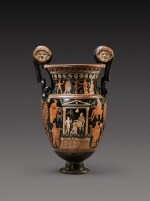 An Apulian Red-figured Volute Krater, attributed to the Gioia del Colle Painter, circa 350-330 B.C.