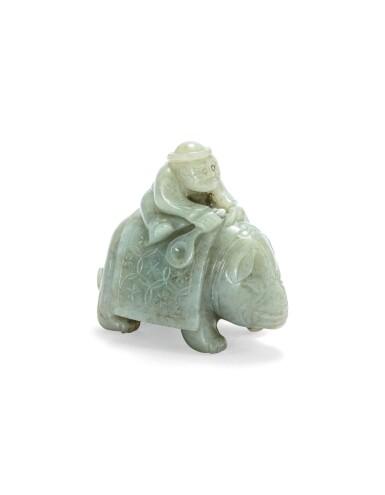 View 2. Thumbnail of Lot 215. Statuette d'un éléphant et son cornac en jade céladon Dynastie Qing | 清 青白玉胡人騎象擺件 | A celadon jade 'foreigner on an elephant' group, Qing Dynasty.