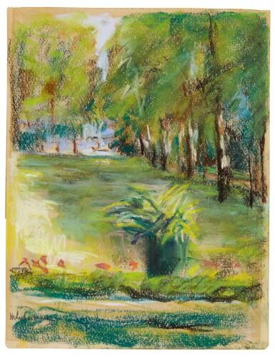 View 2. Thumbnail of Lot 58. Des Künstlers Garten von der Terrasse nach Osten gesehen mit Blick auf die Birkenallee und den Wannsee (The Artist's Garden Seen to the East from the Terrace with a View of the Birch Avenue and the Wannsee).