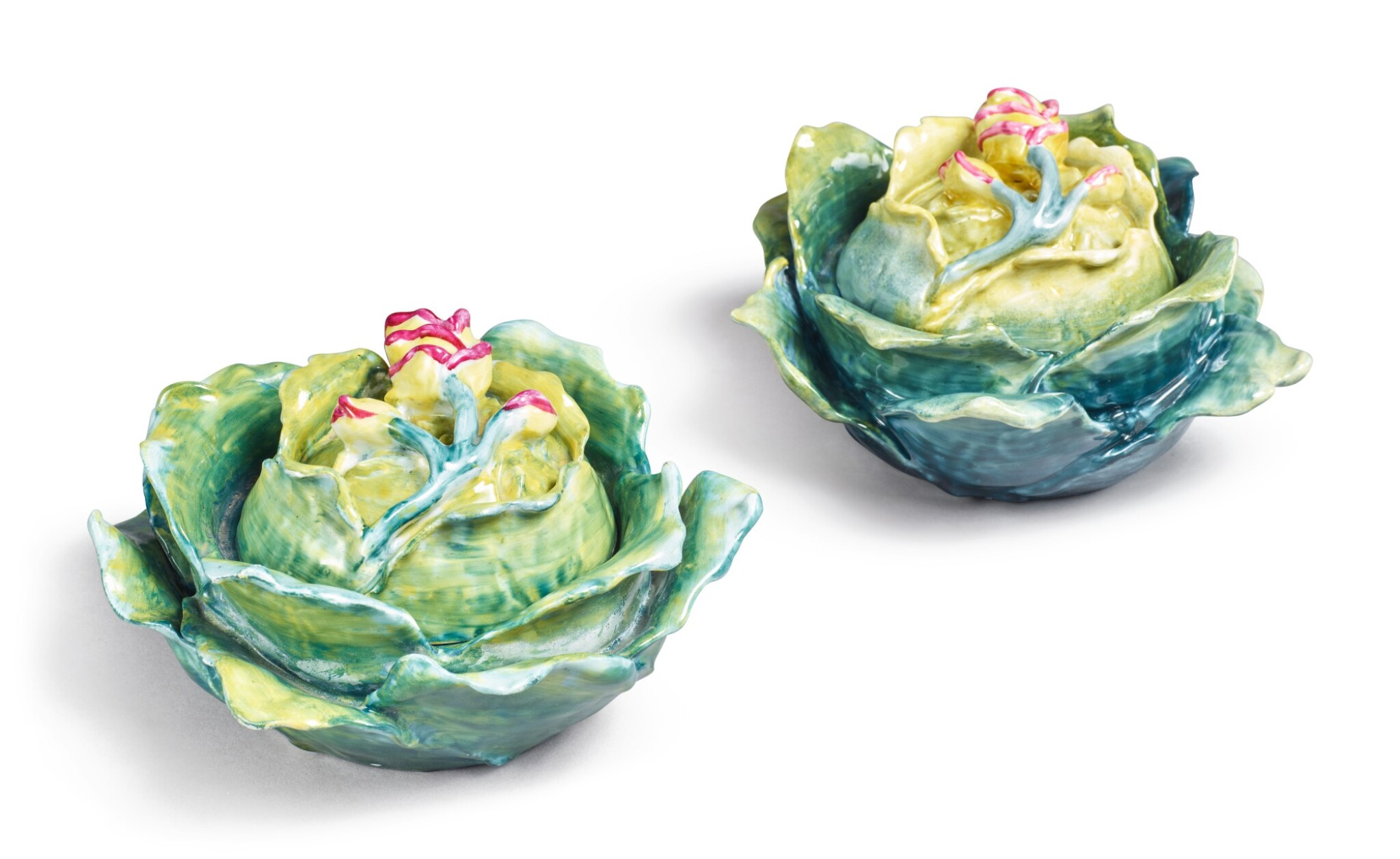View full screen - View 1 of Lot 154. TWO FRENCH PORCELAIN CABBAGE BOXES AND COVERS, LATE 19TH/20TH CENTURY.