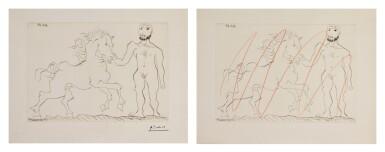 View 1. Thumbnail of Lot 129. PABLO PICASSO | TWO WORKS: HOMME NU DEBOUT AVEC UN CHEVAL (B. 304; BA. 632).
