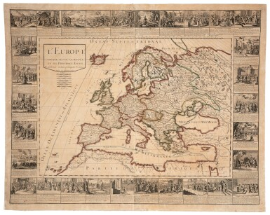 View 4. Thumbnail of Lot 56. Wall maps | A set of four French wall maps of the continents, 1752.