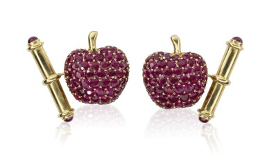 Pair of ruby cufflinks, Michele della Valle