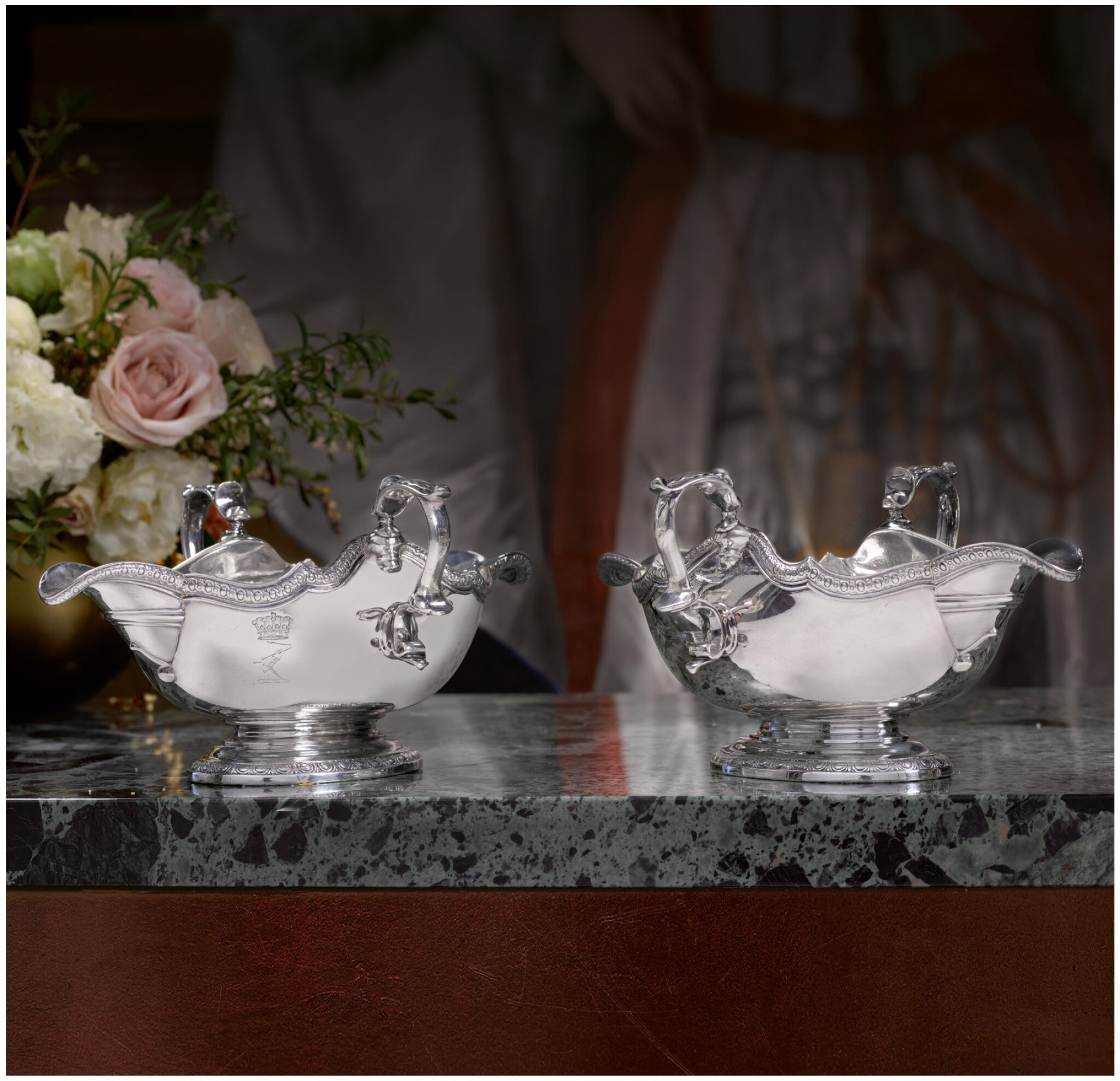 View full screen - View 1 of Lot 57.  A PAIR OF GEORGE II SILVER DOUBLE-LIPPED SAUCE BOATS, BRITANNIA STANDARD, PAUL DE LAMERIE, LONDON, 1732.