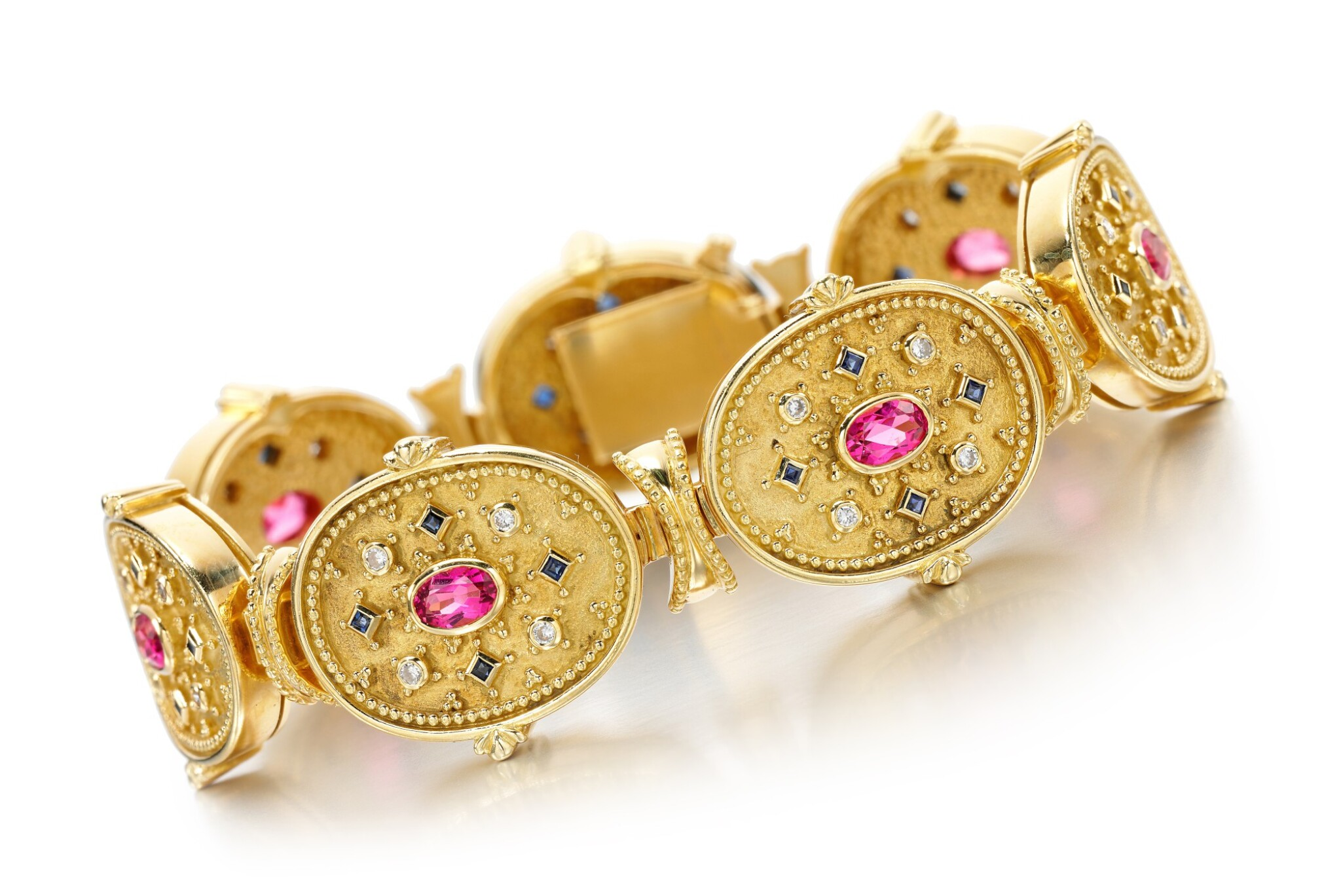 View full screen - View 1 of Lot 111. SAPPHIRE, PINK SAPPHIRE AND DIAMOND BRACELET, THEO FENNELL.