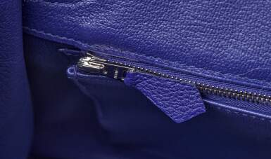 View 9. Thumbnail of Lot 341. Bleu Encre Touch Birkin 25cm in Togo Leather and Shiny Niloticus Crocodile with Palladium Hardware, 2018.