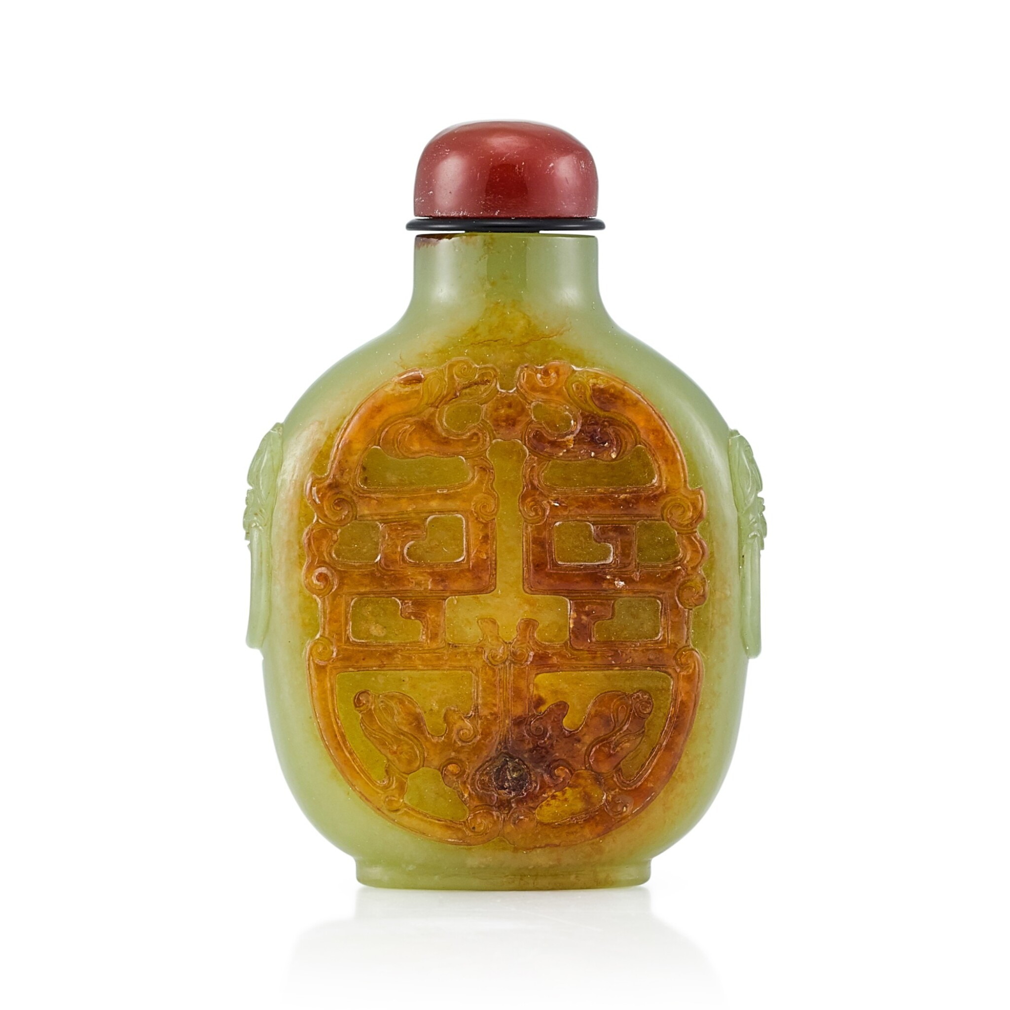 View full screen - View 1 of Lot 3027. A Yellow and Russet Jade 'Dragons' Snuff Bottle Qing Dynasty, Qianlong Period   清乾隆 黃玉夔龍紋鋪獸首鼻煙壺.