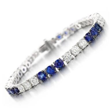 View 1. Thumbnail of Lot 146. Sapphire and diamond bracelet.