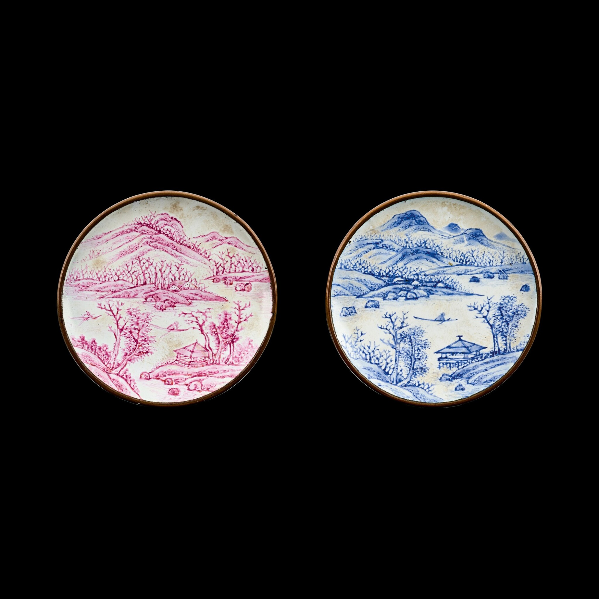 View full screen - View 1 of Lot 1033. A pair of Canton enamel 'Tang Yin landscape' snuff dishes Seal marks and period of Qianlong   清乾隆 銅胎廣東畫琺瑯倣唐寅山水圖鼻煙碟一對 《乾隆年製》款.