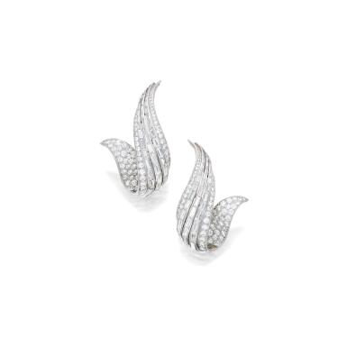View 1. Thumbnail of Lot 37. Sterlé | Pair of Diamond Earclips, France.